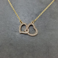 Heart Double Gold CZ Necklace