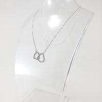 Heart Double Silver CZ Necklace