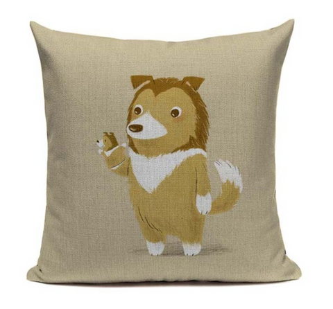 Collie Hand Puppet Pillow Cover DOG12