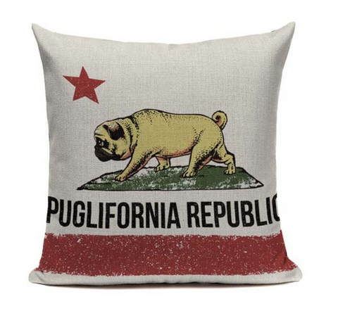 Puglifornia Republic Dog Pillow Cover DOG14