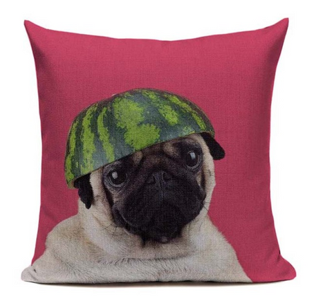 Pug Watermelon Hat Dog Pillow Cover DOG15
