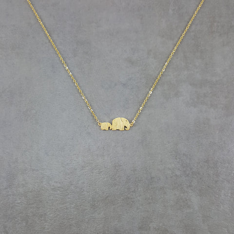 Elephant Baby and Mother Gold Necklace