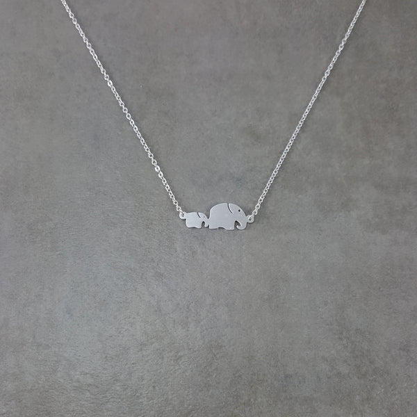 Elephant Baby and Mother Silver Necklace