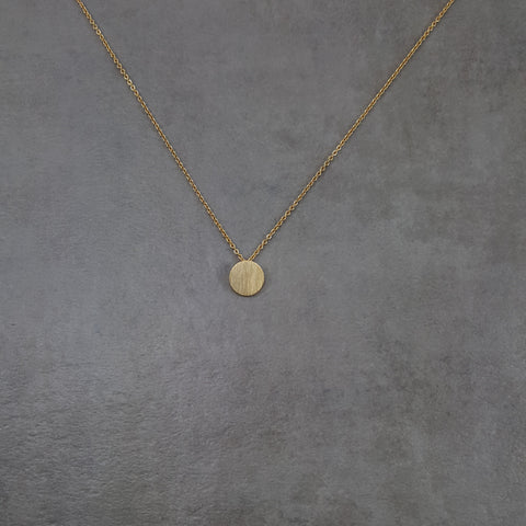 Circle Disc Tag Gold Necklace