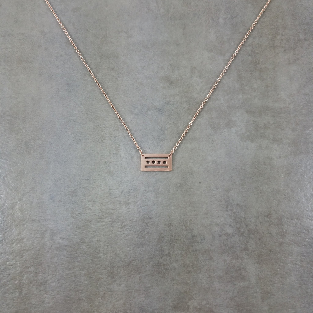 Chicago Flag Rose Gold Necklace Trendy Simple Choker Jewelry LP