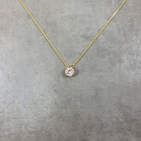 Dot CZ Gold Necklace