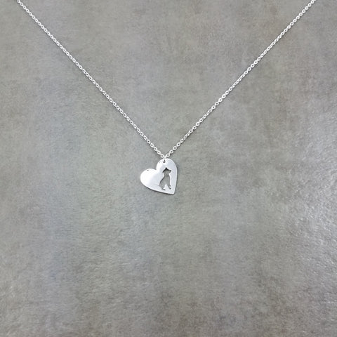 Heart Pit Bull Dog Silver Necklace