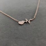 Heartbeat EKG Rose Gold Necklace