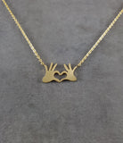 Hands Heart Gold Necklace
