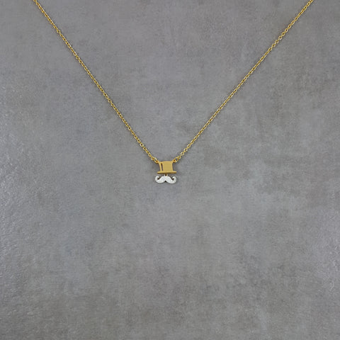Top-hat and Mustache Gold Necklace