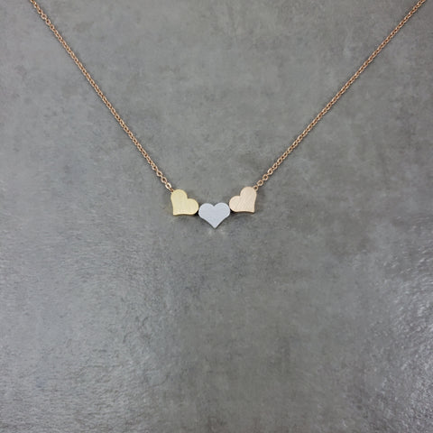 Three Heart Rose Gold Necklace