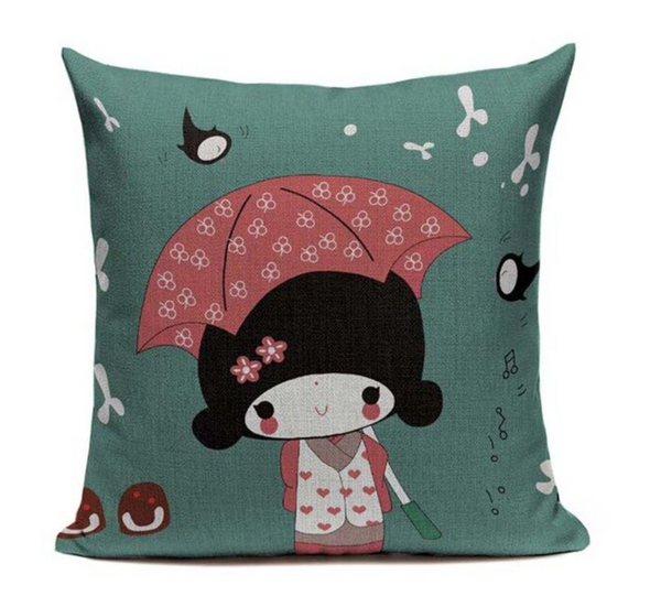 Japanese Umbrella Girl Pillow Cover JP18