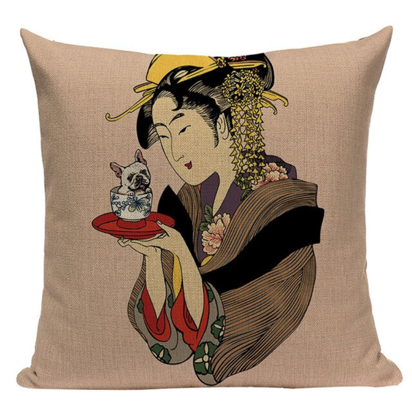 Geisha Pug Cup Pillow Cover JP21