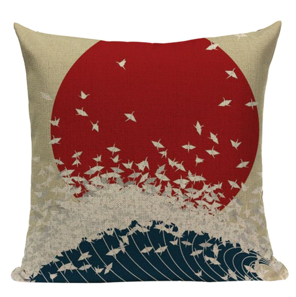 Red Sun Crane Ocean Waves Pillow JP23