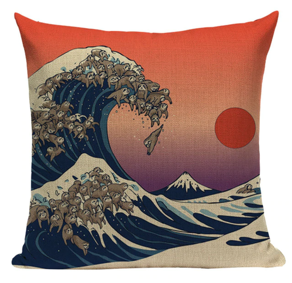 Sloth Waves Sunset Pillow JP24
