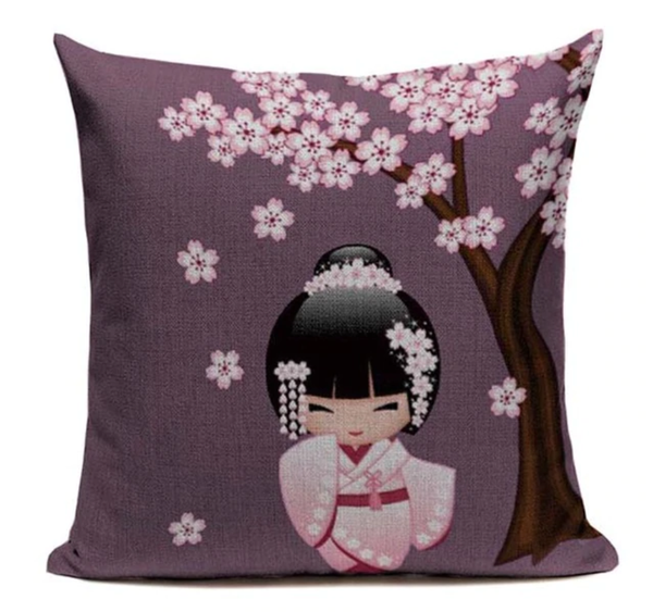 Japanese Kimono Girl Purple Pillow Cover JP25