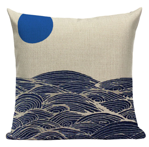 Japanese Blue Moon Pillow Cover JP27