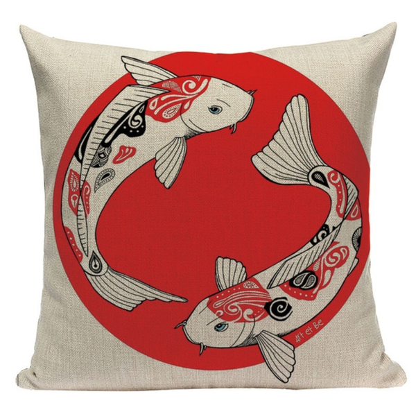 Japanese Sun and Koi Pillow JP28