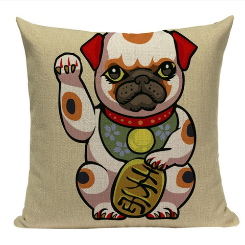 Lucky Pug Pillow JP7