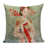 Japanese Geisha Blossom Pillow JP9
