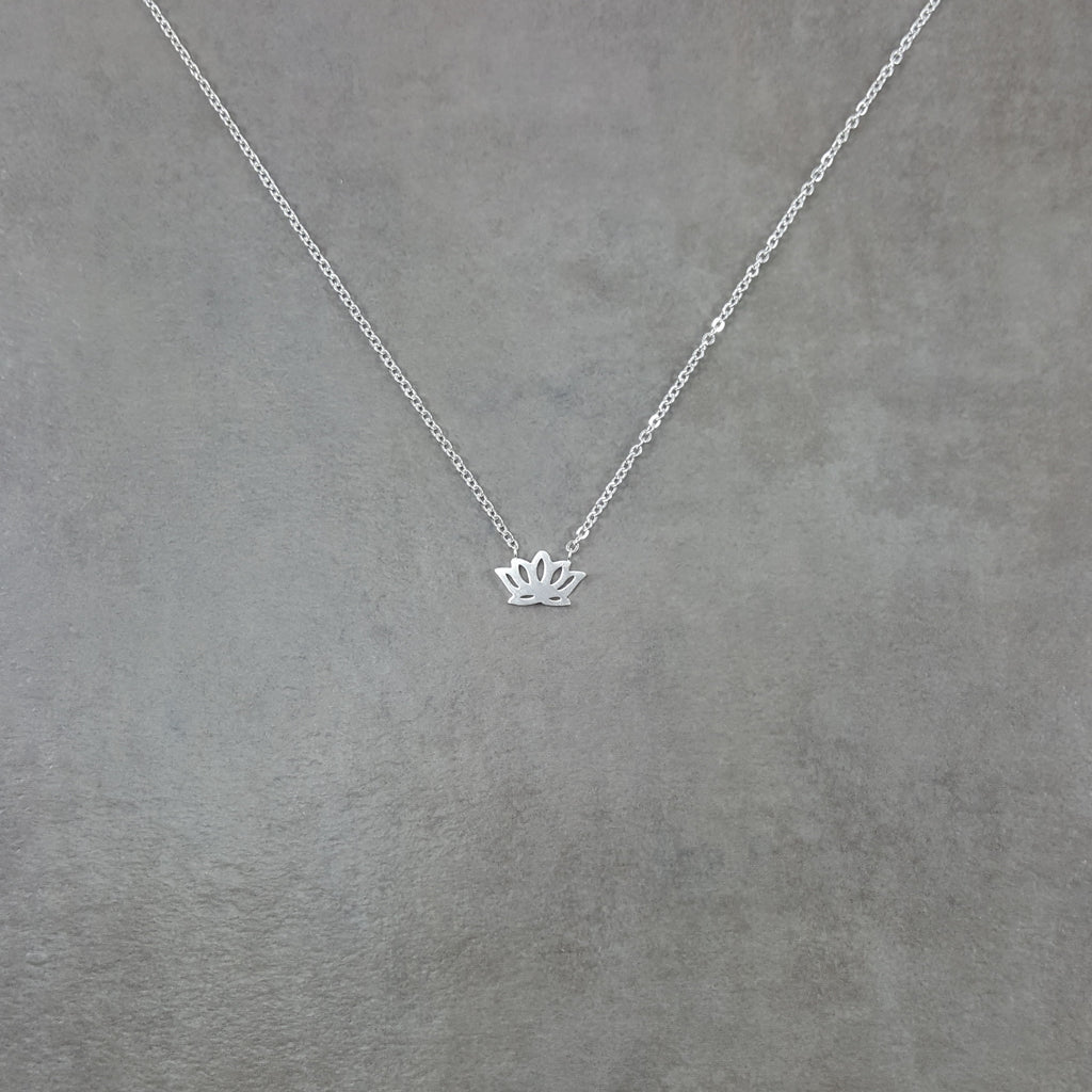 Lotus Flower Silver Necklace Lil Pepper Jewelry
