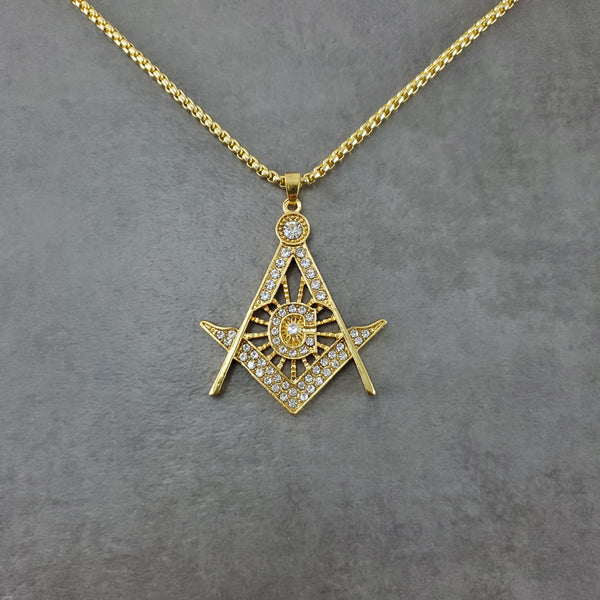 Freemason All-Seeing Eye CZ Gold Necklace