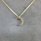 Moon CZ Gold Necklace