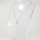 Moon CZ Silver Necklace