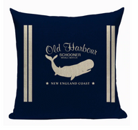 Old Harbour Schooner Whale Watch Pillow N3