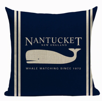 Nantucket New England Whale Watching Pillow Cover N5