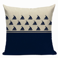Sailboat Pattern Pillow Cover N9