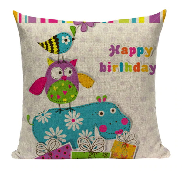 Owl Happy Birthday Pillow O2