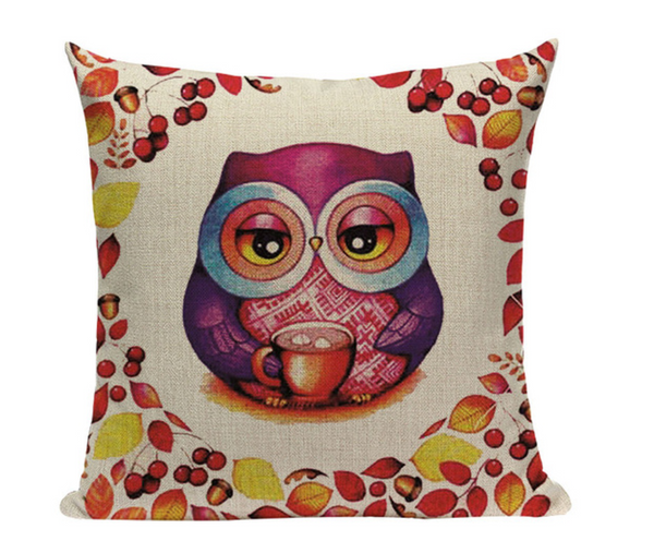 Owl Drinking Hot Cocoa Pillow O6