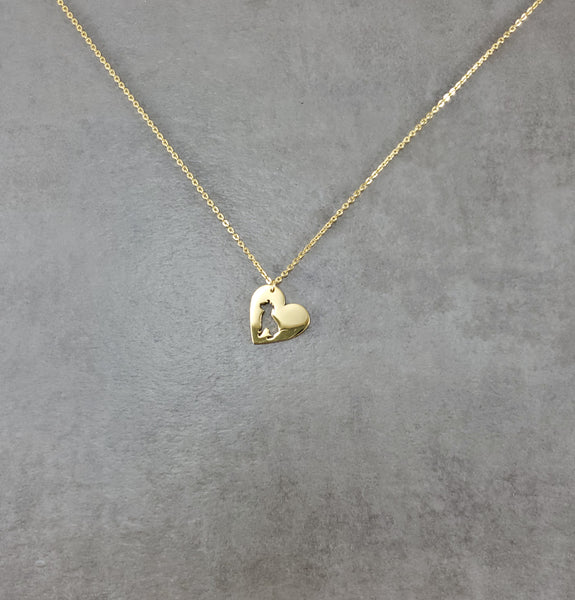 Heart Pit Bull Dog Gold Necklace