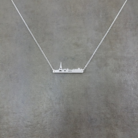 Paris Skyline Silver Necklace