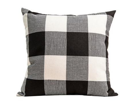 Black Plaid Pillow PL3