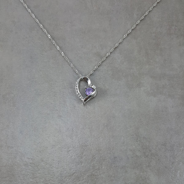Heart Purple Small Crystal Silver Necklace
