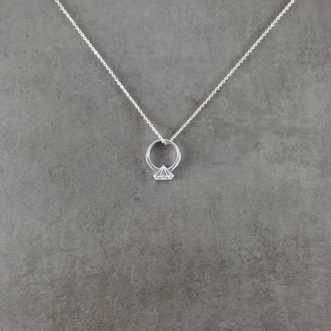 Diamond Ring Silver Necklace