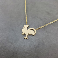 Rooster Chicken Gold Necklace