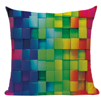 Rainbow Pattern 3D Cubes Pillow Cover RP1