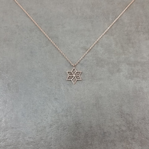 Flower Star Rose Gold Necklace