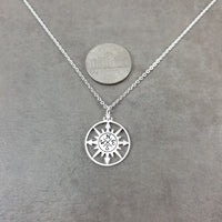 Sun Compass Silver Necklace
