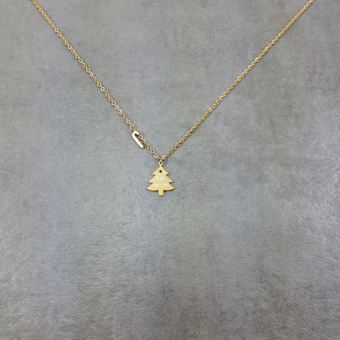 Christmas Tree Gold Necklace
