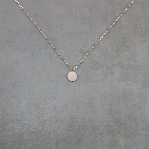 Circle Disc Tag Rose Gold Necklace