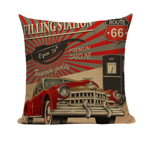 Vintage Car Filling Station Pillow VC1
