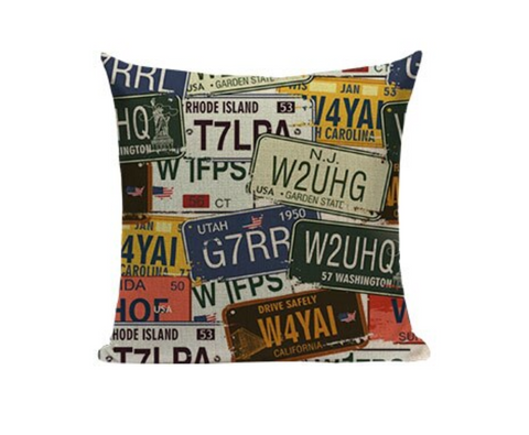 License Plates Pillow Cover VC7