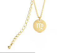 Virgo Circle Tag Gold Necklace