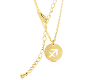 Sagittarius Circle Tag Gold Necklace