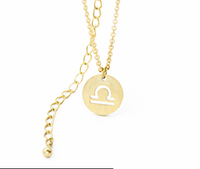Libra Circle Tag Gold Necklace