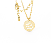 Cancer Circle Tag Gold Necklace
